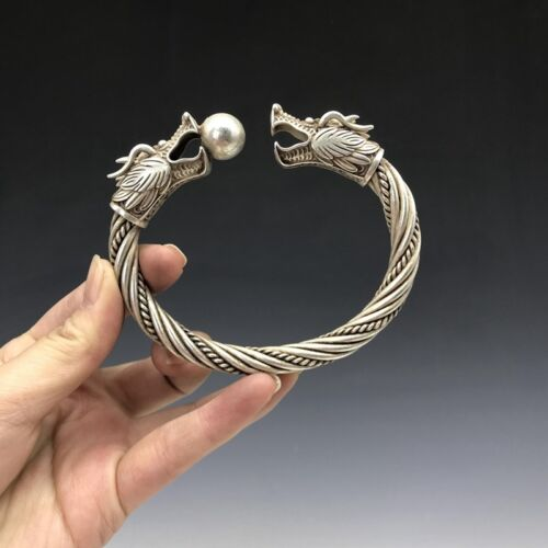 Chinese Old Tibet silver Copper bracelet handmade double dragon play bead image