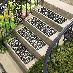 Rubber Stair Mats Outdoor Non Slip Traction Scrolled Mat Grip Treads Set Of 4 Ebay