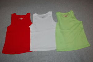 95f0b5b05 Toddler Girls 3 LOT RIBBED TANK TOPS Solid Colors RED WHITE LIME ...