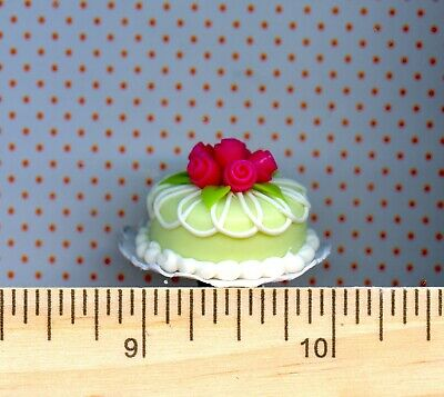 Dollhouse Miniature Round Soft Green Cake with Pink Roses # 34