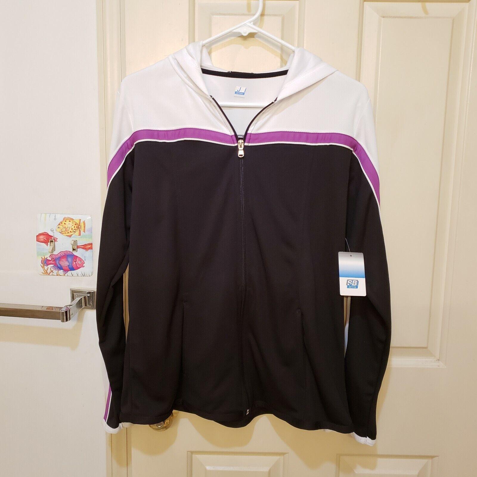 SJB Athletic Casual Zip Front Jacket Hoodie Black Purple Womans Large NWT