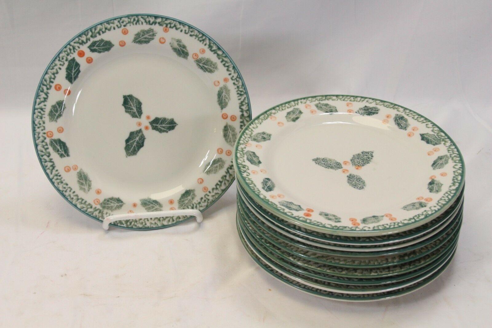 Montgomery Ward Holly Xmas Salad Plates 7.5  Set of 10