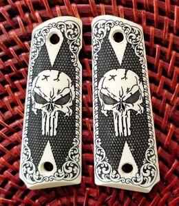 1911-full-size-custom-engraved-ivory-scrimshaw-grips-scroll-skull-checkered
