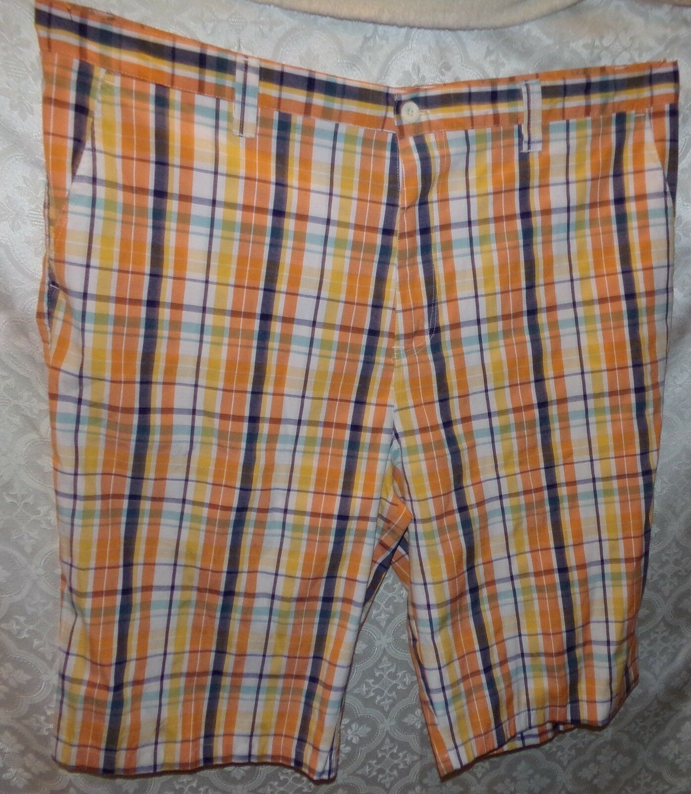 NBN Gear orange Plaid Shorts 50 Mens Flat Front