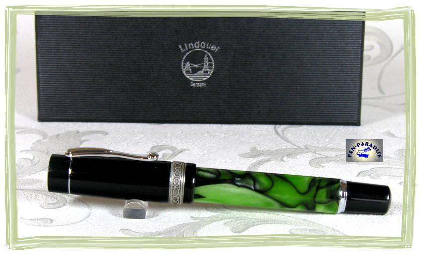Großer Füllhalter Lindauer KING JADE schwarz grün-marmoriert NEU | Viele Sorten