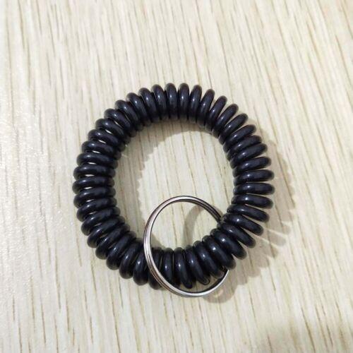 Plastic Spring Bracelet Elastic Colorful Waistband Coil Keychain Key Ring Holder