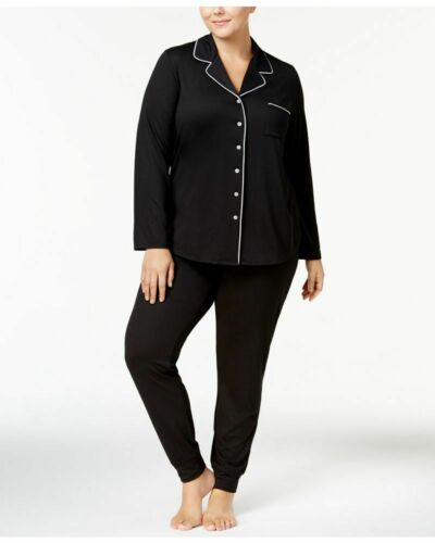 Alfani Womens Plus Size Long Sleeve Notch Collar Knit 2PC Pajama Classic Black