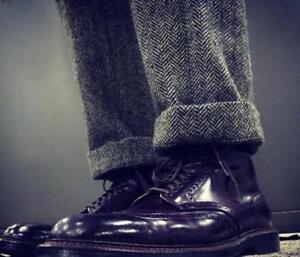 Men-Winter-Straight-Pants-British-Retro-Trousers-Herringbone-Wool-Blend-Trousers