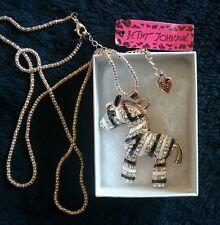 Betsey Johnson  black and white Zebra Pendant Sweater Necklace