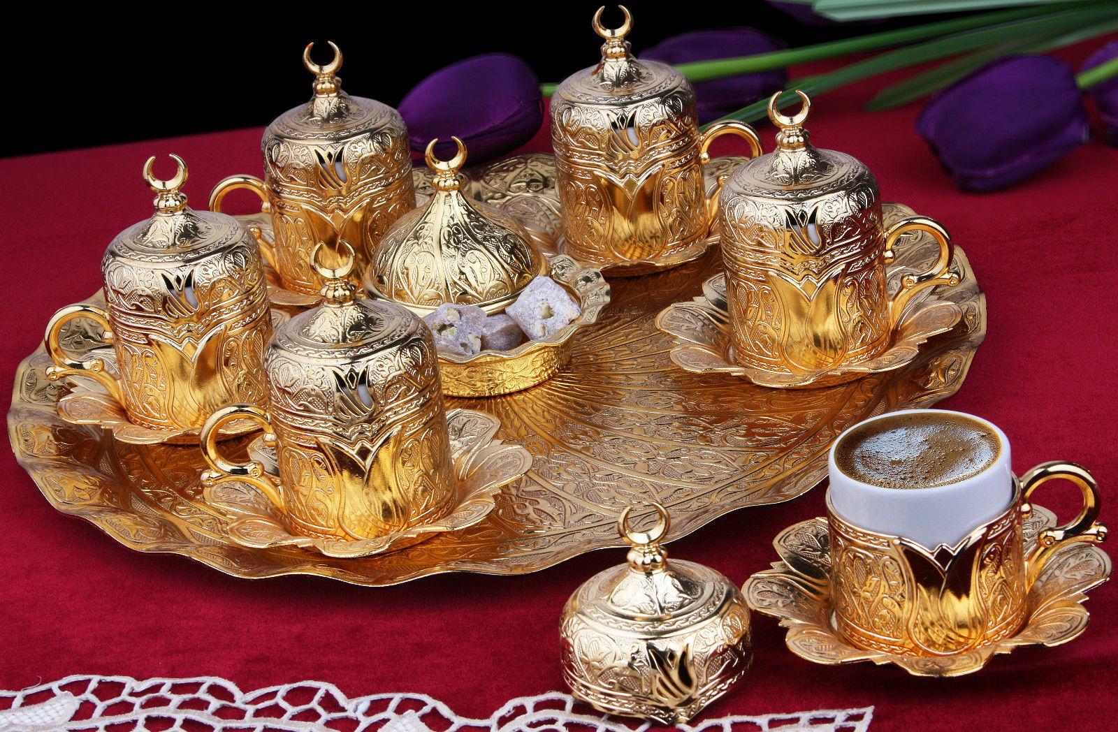 27 Pieces Copper Turkish Greek Arabic CoffeeEspresso Serving Set Cup Saucer Gift