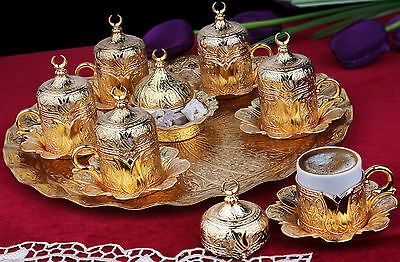 27 Pieces Copper Turkish Greek Arabic CoffeeEspresso Serving Set Cup Saucer Gift