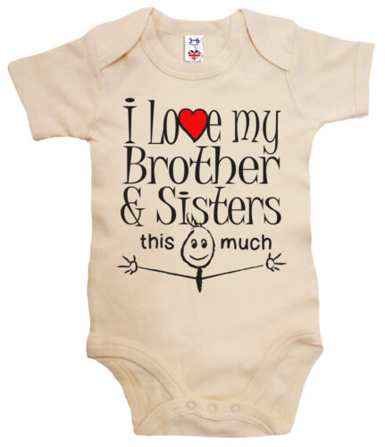 "Funny Baby Bodysuit /""I Love my Brother /& Sisters this much/"" Babygrow Siblings"