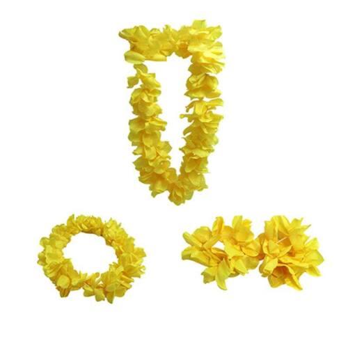 Hawaiian Flower Leis Set Luau Tropical Garland Party Wedding DJ Fancy Dress New
