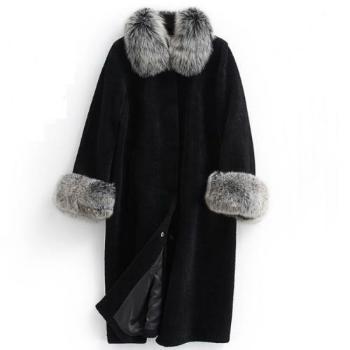 Women Plus Size Long Faux Fur Overcoat Faux Fox Fur Collar Evening Party Coats L
