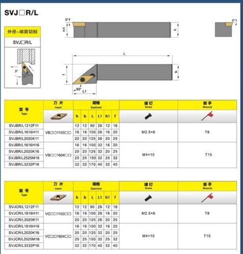 SVJCR1616H16 16×100mm Lathe tool HOLDER 93° for VCMT1160404//08.Right hand HOLDER