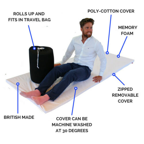 Lorry Easy To Wash Roll Out Memory Foam Mattress Topper Single With Cover /& Bag✔