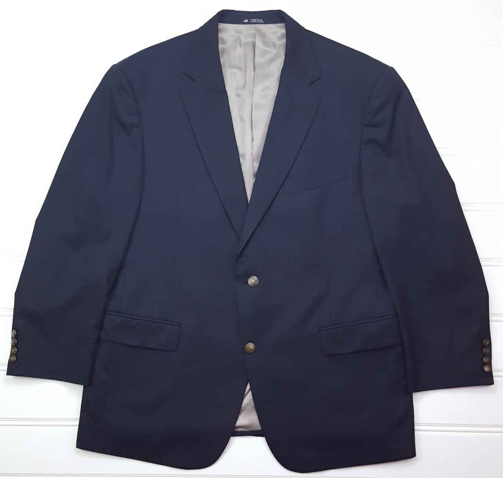 Hart Schaffner Marx Blau Blazer 44S Shorts Zwei Knopf Metallknöpfe Herren Größe