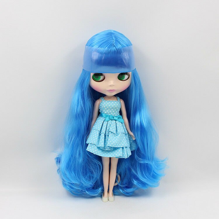 12  Neo Blythe muñeca de fábrica azul el pelo largo con Bang Desnuda Muñeca