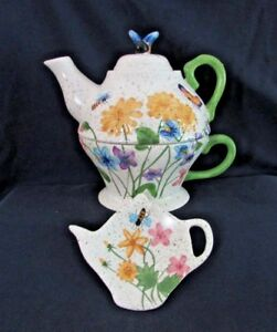 TEA-for-ONE-NANTUCKET-HOME-Porcelain-Teapot-Cup-amp-Tea-Bag-Holder-Bee-on-Top