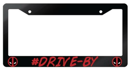 Glossy Black #Drive-By License Plate Frame Auto DEADPOOL