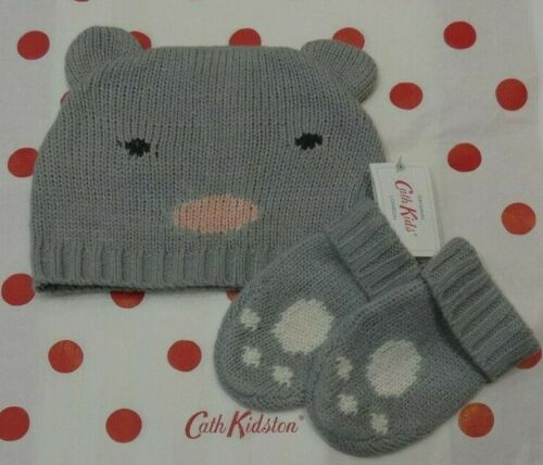 Cath Kidston Baby Knitted Hat And Mittens MOUSE one size 6//18m RRP £22.00 Grey