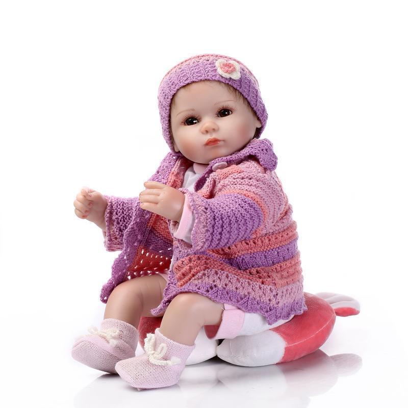 A Pelo 16  RINATO Baby Fatto A Mano Carino Baby Dolls giocattoli magnetici BOCCA realistici