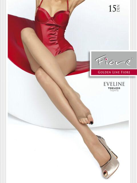 Fiore Eveline SIN PUNTERA PEEP TOE verano Medias 15 Denier Nuevo Color Carne &