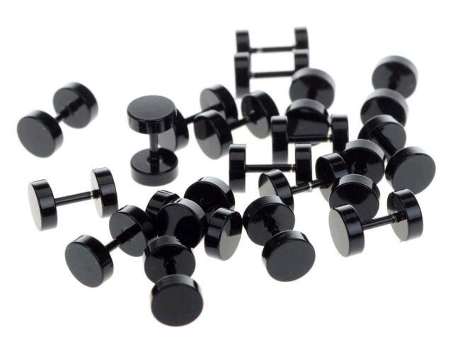 2PC Steel Barbell Screw Back Men Earrings Studs 18G Fake Cheater Ear Plugs Style