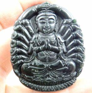 Natural-100-China-black-green-jade-hand-carved-the-Avalokitesvara-pendant