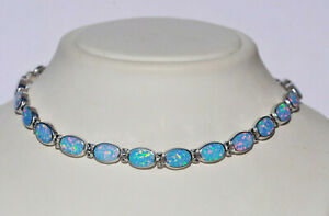 Echt-925-Sterling-Silber-Armband-synth-Opal-hell-blau-isierend-Nr-5000