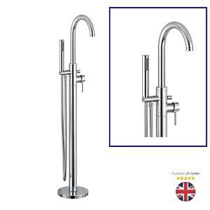 Free Standing Bath Shower Mixer Tap Floor Mounted Chrome Metal