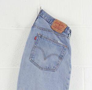 Vintage-Levi-039-s-501-Regular-coupe-droite-homme-BLEU-Effet-Vieilli-Jeans-W35-L30