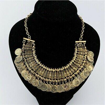 Boho Coin Chunky Statement Necklace, Gypsy Costume Bib, Coachella Jewelry