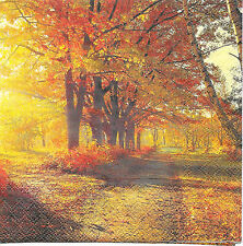 """3 Servietten Napkins Herbstlandschaft """"Goldener Herbst"""" Allee #174"""