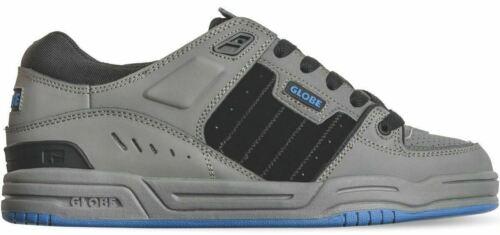 Globe Fusion Charcoal Black Blue Nubuck Mens Skate Trainers Shoes