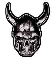 Motorcycle Biker Uniform Patch 4 X 5 Viking Skull In Horned Helmet
