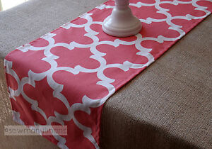 Coral Moroccan Table Runner Kitchen Home Decor Linens Modern Table Centerpiece