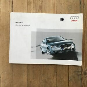 04-07 Audi A4 Saloon 4 Dr Owners Handbook Manual Print 2005 Ref89-afficher Le Titre D'origine Attrayant Et Durable