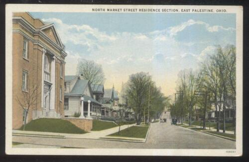 POSTCARD EAST PALESTINE OHOHIO NORTH MARKET STREET FAMILY HOMESHOUSES 1920'S