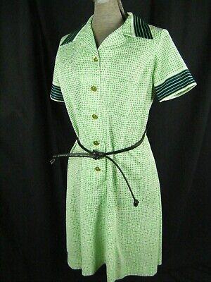 Ehrlich Vtg 60er Jahre Grün / Marineblau Punkte Mod Poly Strick Knöpfe Mantel Dress-bust SchöNe Lustre