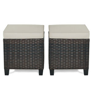 2pcs Patio Rattan Ottoman Cushioned Seat Footrest Coffee Table Outdoor Furniture Ebay