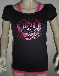 NEW-LADIES-EVERLAST-BLACK-PINK-MOCK-LAYER-LOOK-T-SHIRT-TOP-SIZE-10
