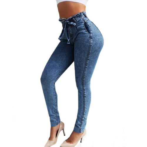 Women Paper Bag High Waist Denim Pants Stretchy Jegging Slim Fit Jeans Trousers
