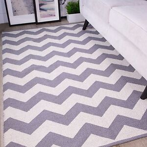 Image Is Loading Modern Grey Amp Cream Chevron Rug For Living