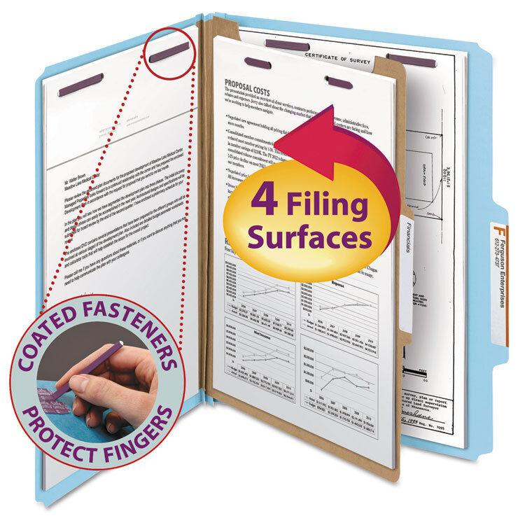 Smead Pressboard Classification Folders, Letter, Four-Section, bluee, 10 box