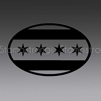 2 INCH CHICAGO FLAG OVAL Vinyl Decal Sticker Helmet  EURO CAR  JDM ILLEST