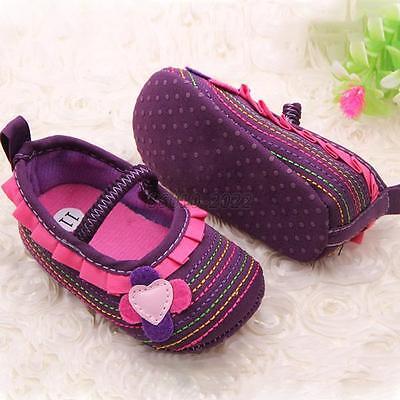 Newborn Baby Girl Flower Ruffled Crib Shoes Soft Anti Slip Toddler Shoes New B81