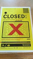 Rare Simms closed Poster Mint