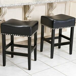 Set Of 2 Classic Black Leather Counter Stools W Chrome