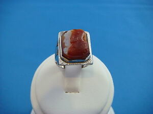 !ANTIQUE DOUBLE CAMEO UNISEX 14K WHITE GOLD RING 6.5 GRAMS SIZE 6